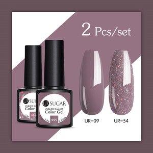 UR SUGAR Glitter UV Gel Nail Polish Set Nude Color Series Led Nail Gel Varnish Semi Permanent Nail varnish Sequins Gel 2pcs/set(China)