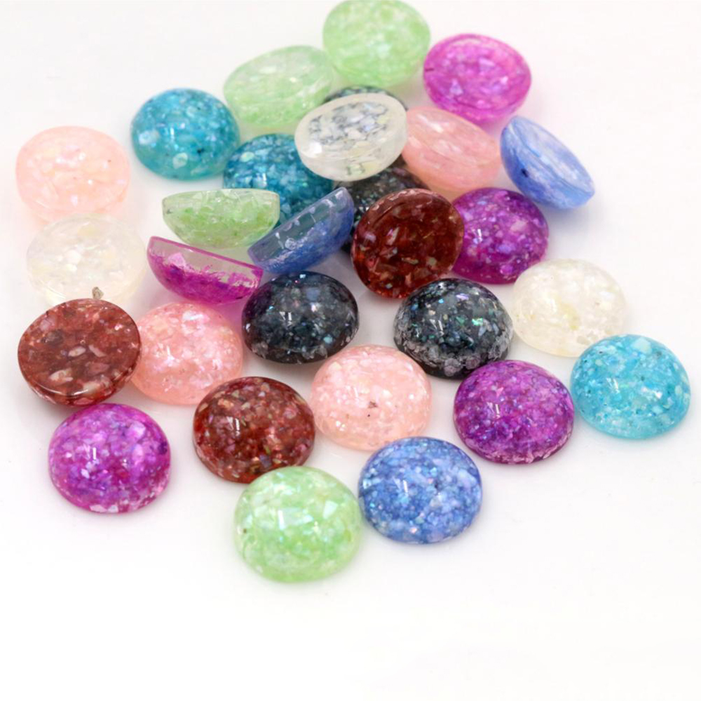 New Style 40pcs 12mm Mix Colors Built-in Real Shells Style Flat Back Resin Cabochons Fit 12mm Cameo Base Cabochons