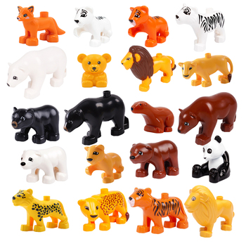 Animal Accessories Big Size Building Blocks Tiger Lion Bear Panda Figures Compatible With Duploed Toys For Children Kids Gifts big building blocks animals series model figures toys for kids children large bricks toys compatible duploed leogoed