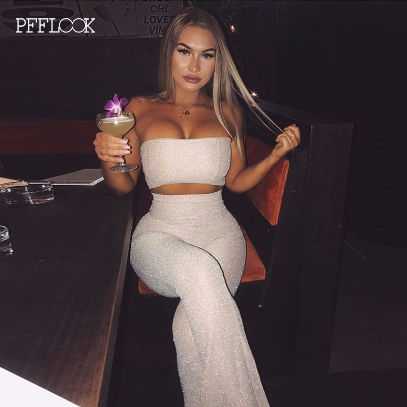 PFFLOOK 2019 Reflective Glitter Two Piece Set Summer Strapless Top And Long Pant Sexy Party 2 Piece Set Bodycon Women Outfits