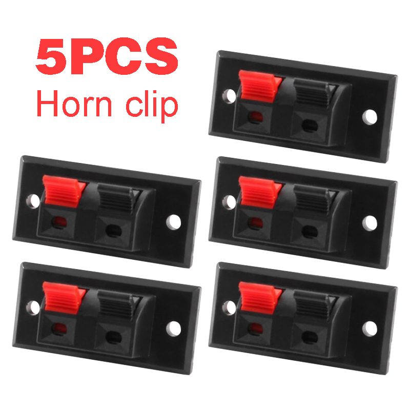 5Pcs/pack 2 Positions Connector 2 Pins Terminal Push In Jack Spring Load Design Audio Speaker Terminals Panel Connectors