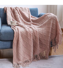 Knitted Throw Thread Sofa Blanket Cover Nordic Plaid Travel TV Multifunction Soft Mantas Bedspread with Tassels Air Blankets