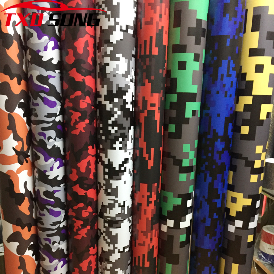 HOT Selling Digital Printed Camo Vinyl Film Wrapping Motorcycle Scooter Car Sticker Wrap Car Styling Foil Camouflage Film Wraps