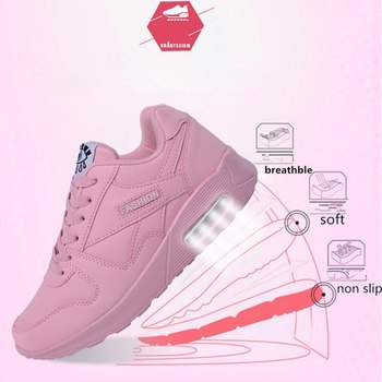 PU Leather Running Shoes Women Men Fashion Air Cushion Damping Sport Shoes Outdoor Training Jogging Lover Sneakers Breathable 2