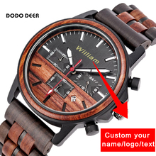 DODO DEER Customize Engrave Logo Wood Watches for Mens Private Custom Timer Luxury Chronograph Wristwatch Male Auto Date OEM