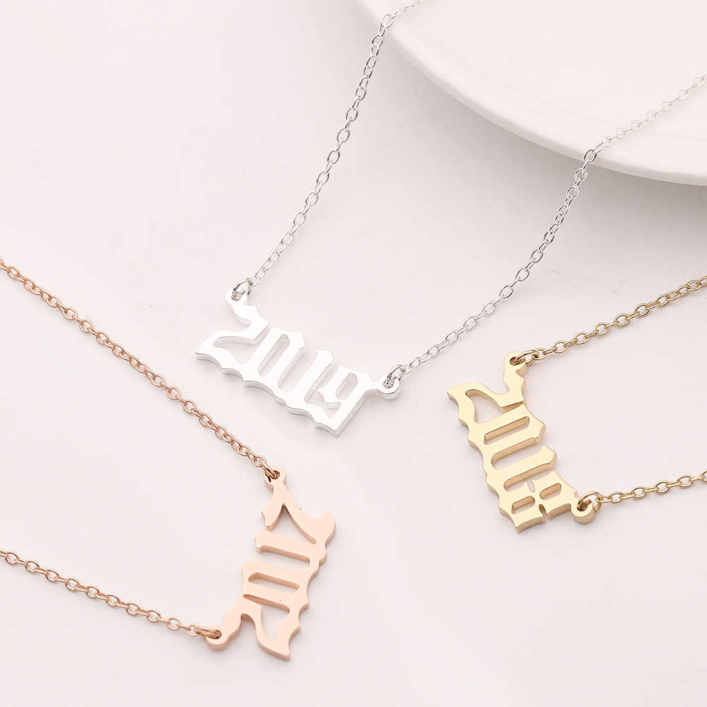 Custom Year number necklace for girl Women Jewelry silver chain 1980-2000-2019 female fashion pendants Birthday Gift