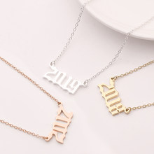 Custom Year number necklace for girl Women Jewelry silver chain 1980-2000-2019 female fashion pendants Birthday Gift(China)