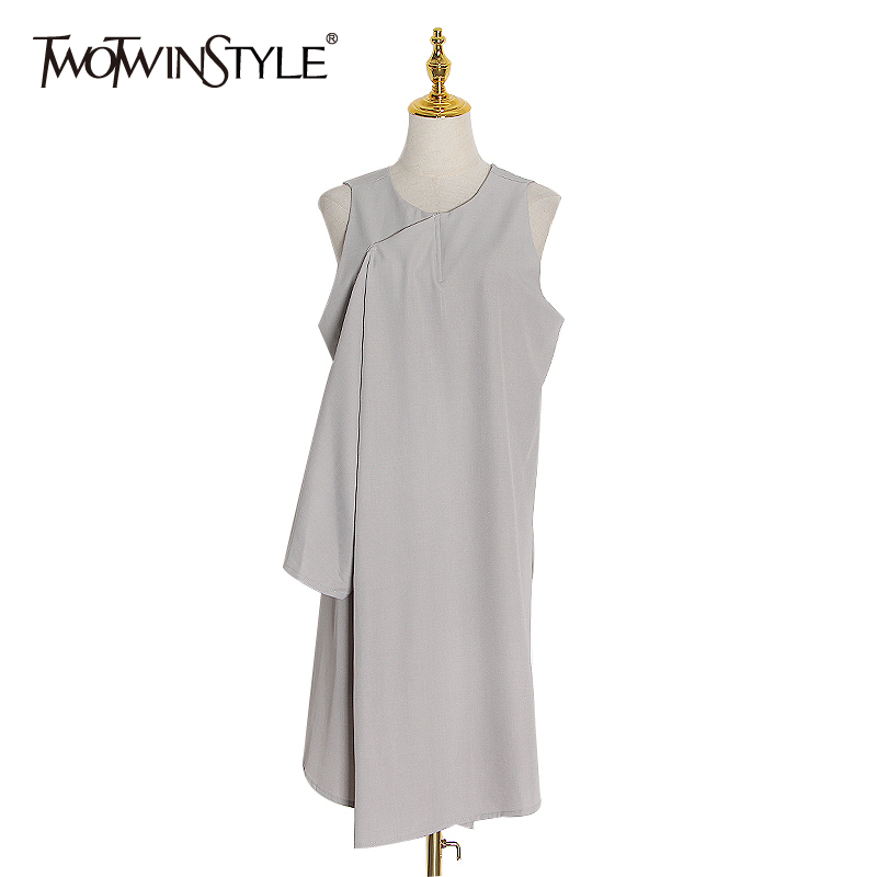 TWOTWINSTYLE Black Asymmetrical Dress For Women O Neck Sleeveless Loose A Line Dresses Female 2020 Spring Fashion New Clothing