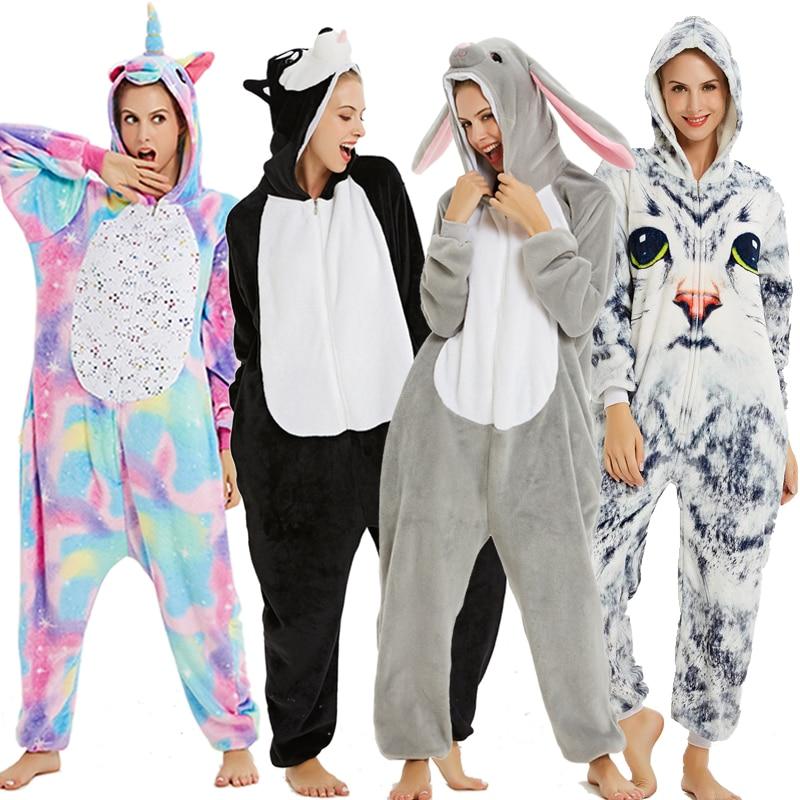 Flannel Kigurumi Onesies For Women Pajamas 2020 Winter Animal Cat Pyjamas Adult Onesies Cosplay Pikachu Flannel Sleepwear