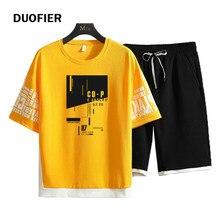 2021 conjunto de camisa masculina de 2 peças moda masculina hip hop streetwear impressão camisas + calções esportivos roupas masculinas casual conjunto de treino