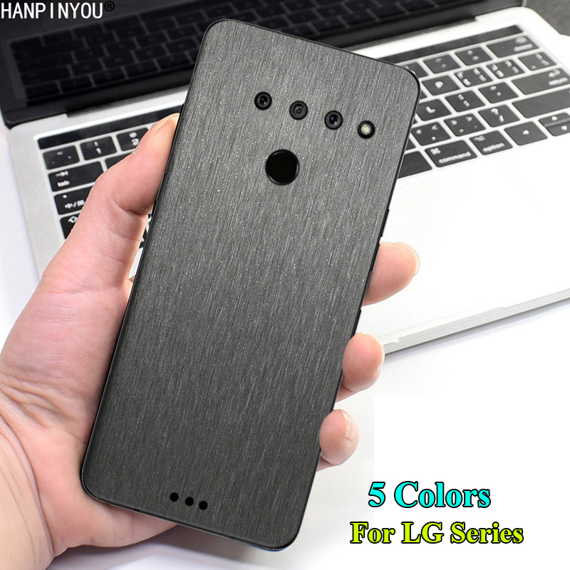 For LG Q70 V50 V40 V35 V30 G8 G7 Fit G6 Q Stylus Plus Thinq Back Brushed Metal Decal Skin Phone Protective Wire Drawing Sticker