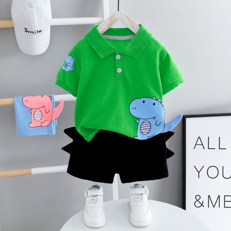 Baby Clothes Summer Suit Toddler Boys Short Sleeve Top + Black Shorts Children Outfits 2 Pieces 1-4 Year Old Baby Kids Clothes 4