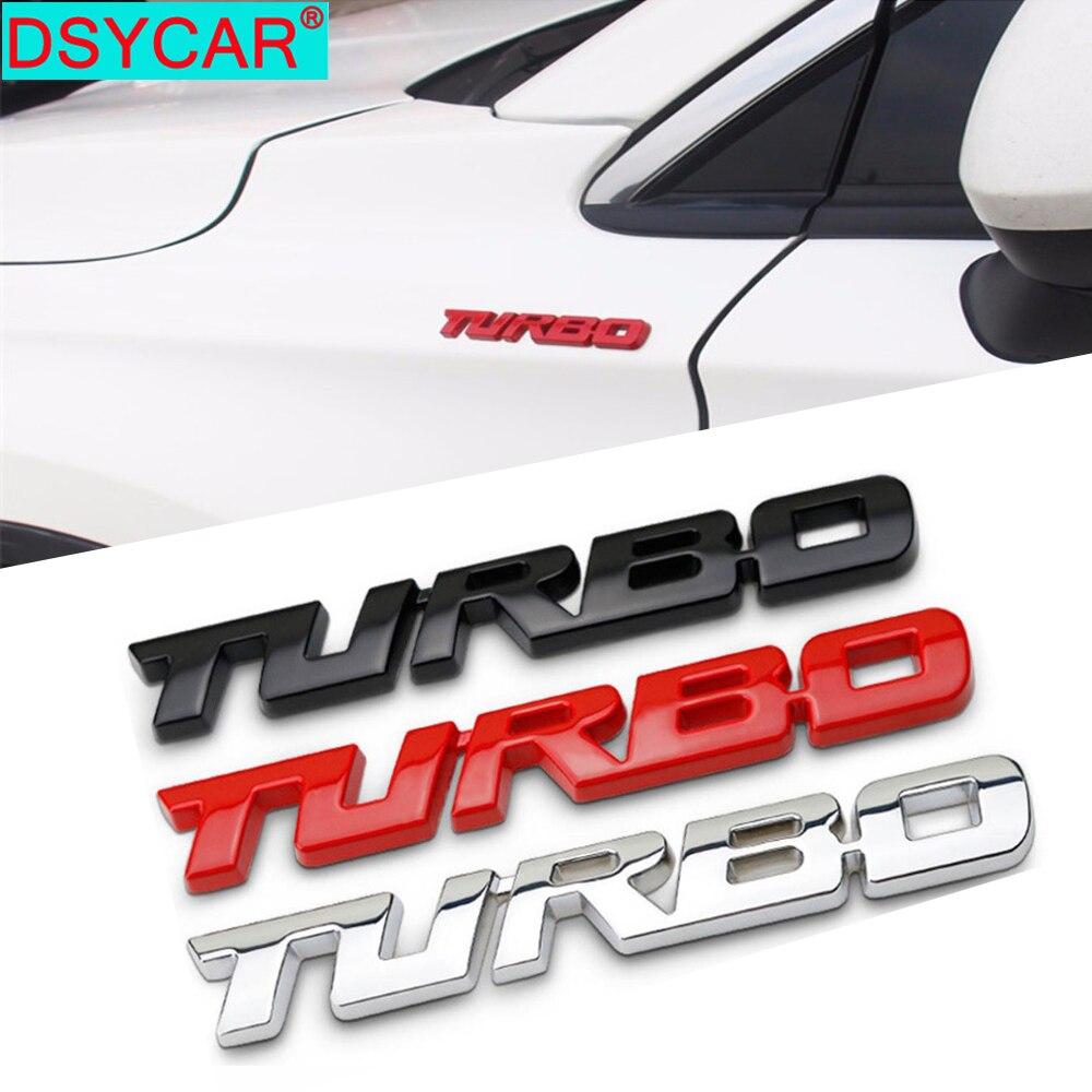 DSYCAR 1 pièces 3D métal Turbo voiture autocollant emblème Badge pour Jeep BMW Ford Lifan Nissan Mazda Audi VW Honda voiture Lada Kia Chevrolet DS