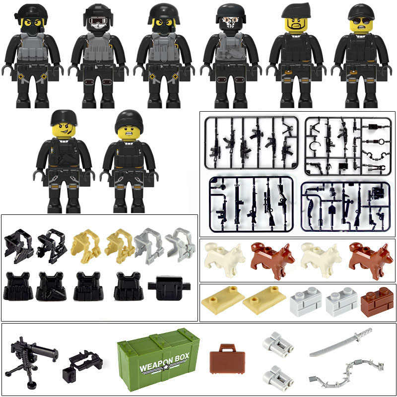 New LegoINGlys Military City Police Figures Weapons Armed Swat Soldiers Blocks Bricks Collection Toys diy Children Gifts 20047A