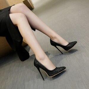 Image 5 - BLXQPYT גדול גודל מכירה 34 48 אופנה סקסי הבוהן מחודדת נשים משאבות פלטפורמה גבוהה Heels12CM מסיבת החתונה אישה 8735