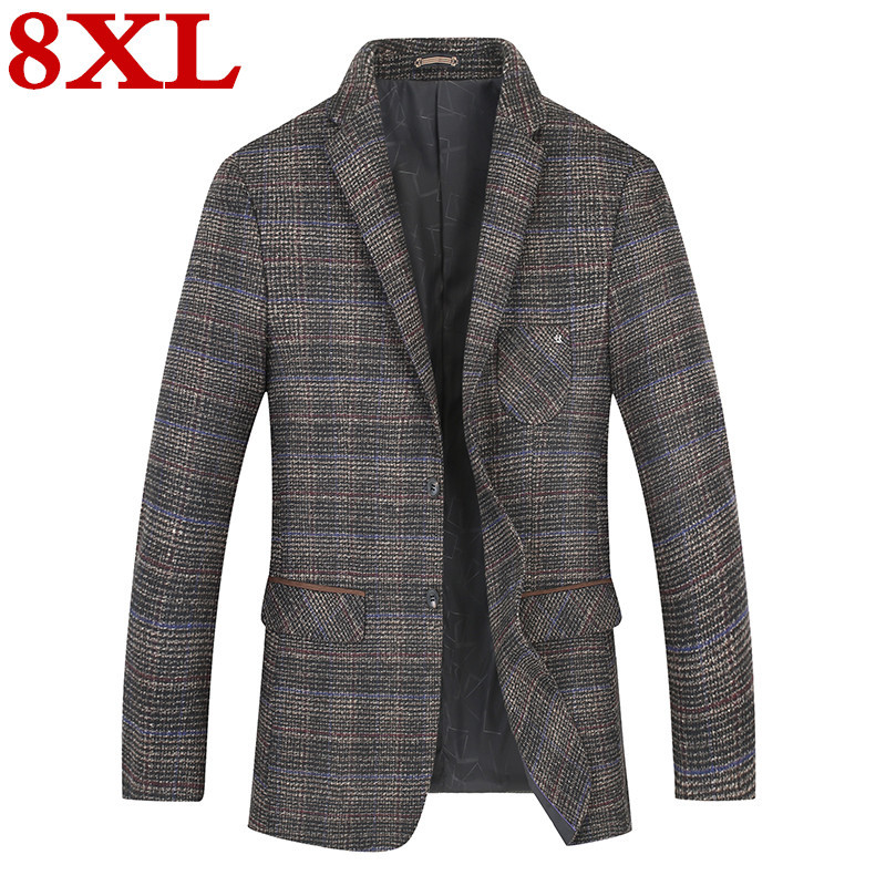 2020 New Plus Size 8XL 7XL Autumn Winter Business Coat Add Fertilizer Increased Male Casual Suit Jacket Loose Fat Male Jacket