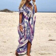 Summer Women Dress Tie-Dye Irregular O-Neck Loose Long Dresses Vintage Loose Short Sleeve Beach Female Vestido 2021 Fashion