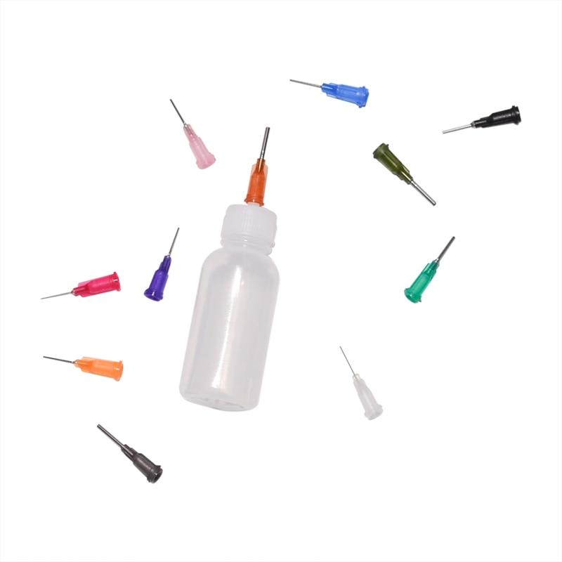 1 lot 30ml Transparent polyéthylène aiguille distributeur bouteille pour colophane soudure Flux pâte + 11 aiguilles