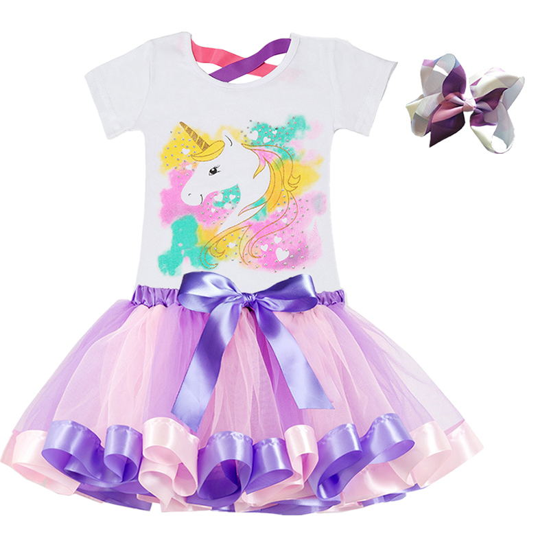 2019 Fashion Unicorn Dress for Girls Children's Clothes Kids Lace Dresses Baby Girls Costume Summer Sleeveless Princess Dress 5
