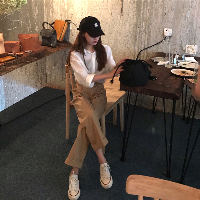 H428f5500a6364cb59645aef61d02a040q - Spring / Autumn Loose Straight Solid Pants
