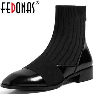Женские ботильоны в сдержанном стиле FEDONAS, Классические ботинки из натуральной кожи на толстом каблуке в стиле пэчворк, Осень-зима 2020