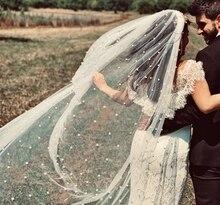 Velo perla blanca/velo de novia color marfil con peine de una capa, velo de boda con perla real Catedral Veu de Noi EE708