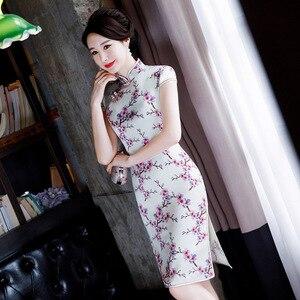 Image 4 - Vestido De Debutante Hot Sale Short Tank 2020 Chinese Style Womens Mid Long Silk Cheongsam Summer New Low Slit Dress Wholesale