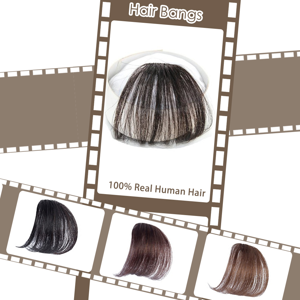 Moresoo Air Front Fringe Clip In Hair Extensions One Piece Machine Remy Straight Human Hair Accessories Without Hair Temples