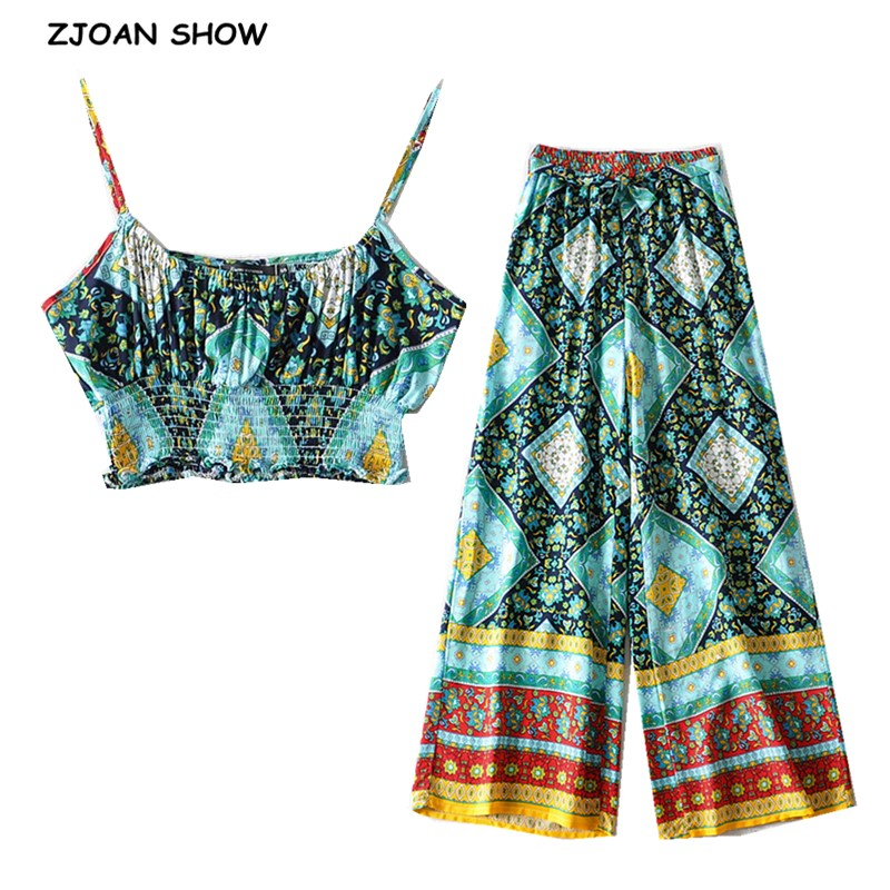 2020 BOHO Elastic Hem Geometric Floral Print Bra Tank Top Crop Top Women Tie Bow Sashes Wide Leg Pants Ruched Camis 2 Pieces Set