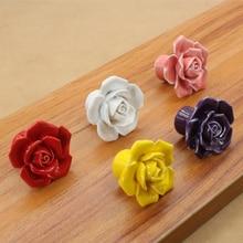 1 шт. в форме цветка керамические розы мебельные ручки дверные ручки шкафы ручки ящик шкаф выдвижной ящик с ручками ручки