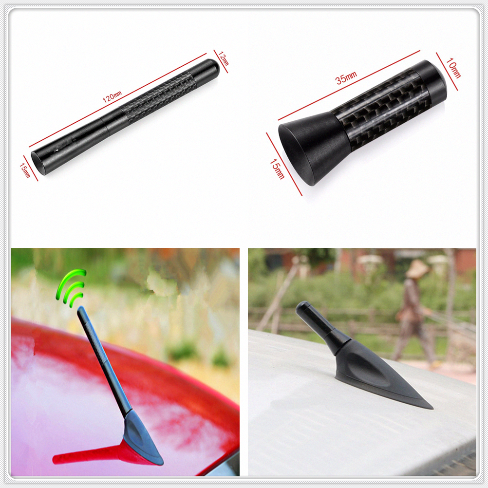Car universal Carbon Fiber roof Short Radio signal Antenna for Kia Forte Ceed Stonic Stinger Rio Picanto Niro Soulster No3(China)