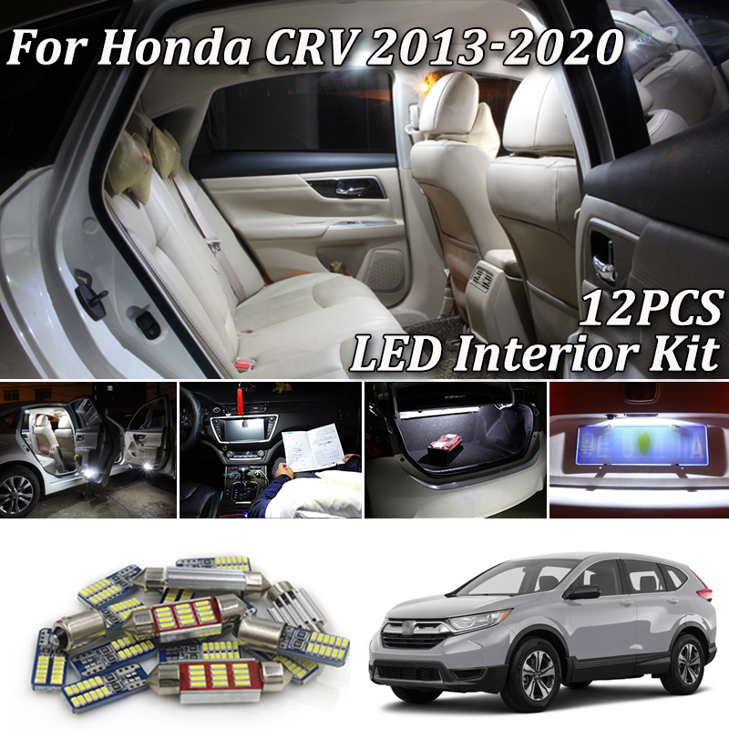 12Pcs White Canbus <font><b>led</b></font> Car interior lights Package Kit for 2013 - 2016 2017 <font><b>2018</b></font> 2019 2020 <font><b>Honda</b></font> <font><b>CRV</b></font> CR-V <font><b>led</b></font> interior lights image