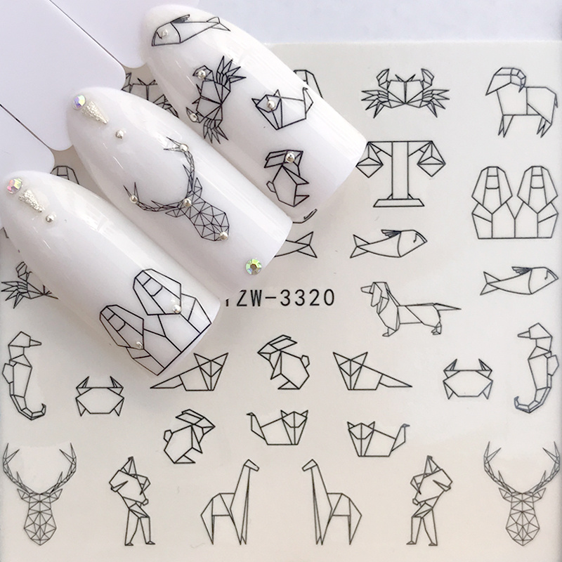 1 Sheet Water Nail Stickers Black Cartoon Animal Flamingo Fox Hollow Designs Sliders For Nail Decals DIY Manicure Decora