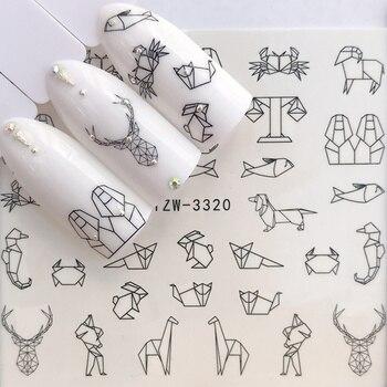 1 arkusz wody paznokci naklejki czarny Cartoon zwierząt Flamingo Fox Hollow wzory suwaki na kalkomanie do paznokci DIY Manicure Decora