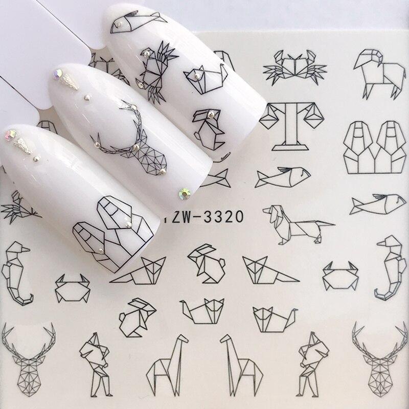 1 лист, водные наклейки для ногтей, черные Мультяшные животные, фламинго, лиса, полый дизайн, Слайдеры для ногтей, Переводные картинки, сделай сам, маникюр, Декорация|Стикеры и наклейки|   | АлиЭкспресс