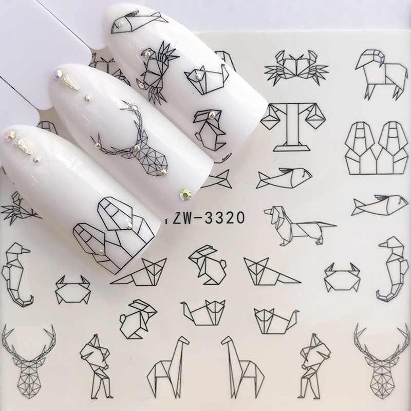 1 גיליון מים נייל מדבקות שחור קריקטורה בעלי החיים פלמינגו שועל הולו עיצובים גולשים עבור נייל מדבקות DIY מניקור Decora