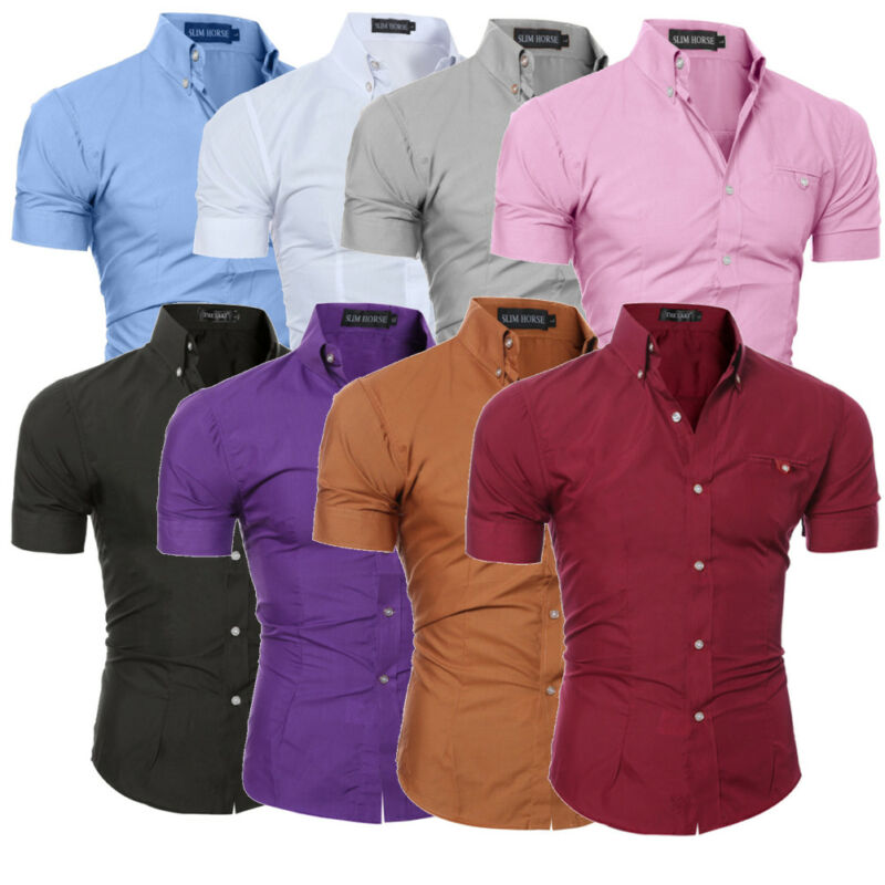 Мужская приталенная рубашка с коротким рукавом, деловая Повседневная рубашка, однотонные однобортные топы, 8 цветов, M-3XL