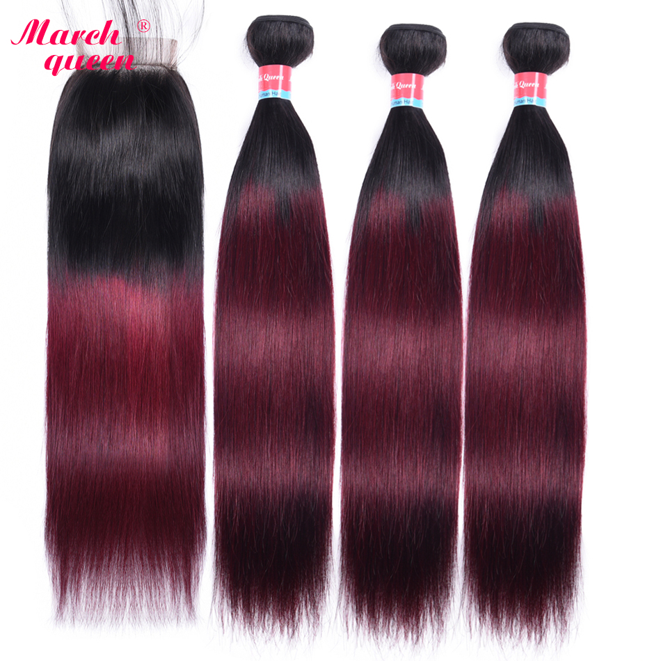 March Queen 2 Tone Ombre Brazilian Straight Hair With Closure T1B/99J Human Hair Weave 3 Bundles With 4*4 Lace Closure