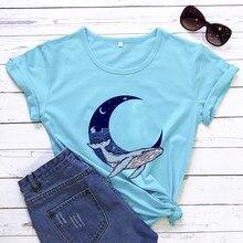 Lua baleia camiseta feminina engraçado lua gráficos camisas inspiração natural camisa moda casual grunge vintage topo