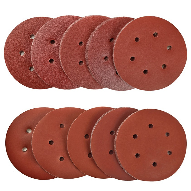 100Pcs 6 Inch Grit 40-2000 Sanding Discs Pad 6-Hole Kit For Drill Grinder Rotary Tools Hook&Loop Alumina Sander Sand Paper