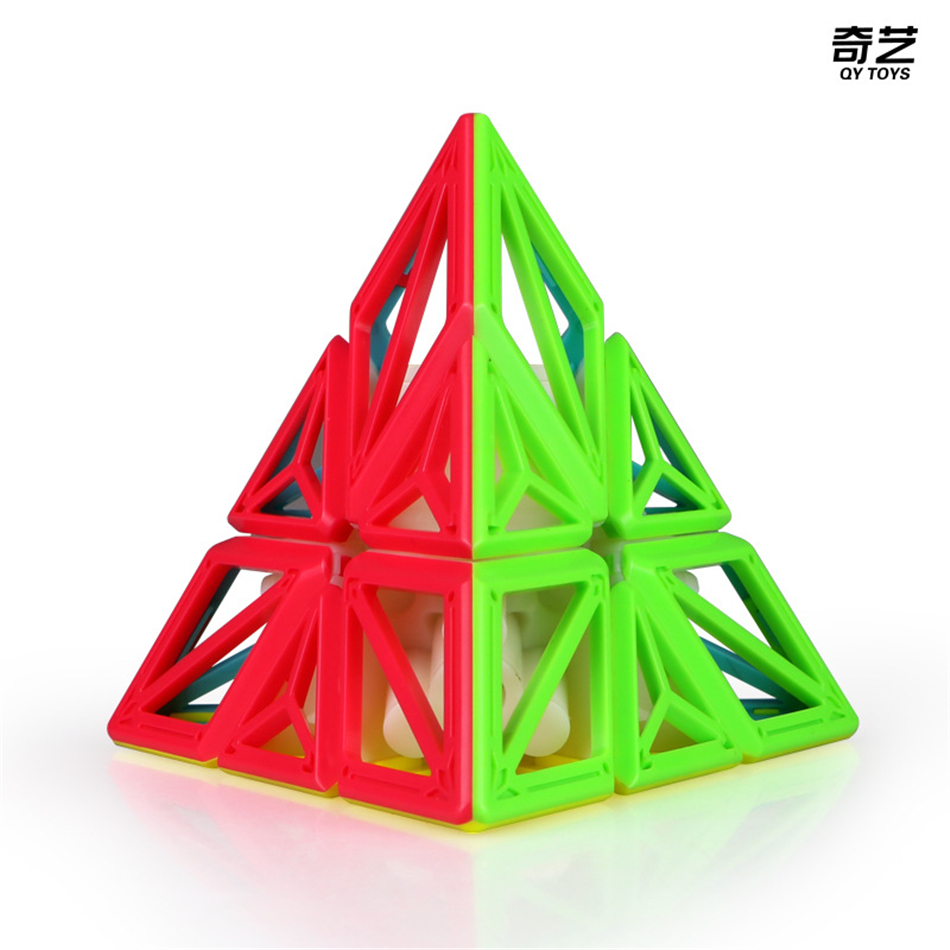 Newest QiYi DNA Pyramid Cube Stickerless Speed Magic Cube DNA Plane Cubo Magico  Speed Puzzle Cubes Toys For Children Kids