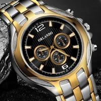 Nowy ORLANDO Top mężczyźni zegarki jakości zegarek kwarcowy srebrny pozłacane mężczyźni zegarek ze stali nierdzewnej Masculino Relogio Saat