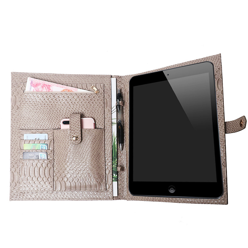 Fashion Document Bag Men Fashion Python Pattern Padfolio Office Women Business A4 File Holder Luxury Porfolio For Ipad Holder(China)
