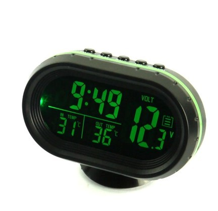 External Car Mounted Car Double Thermometer Clock Car With Numbers Explicit Electronic Watch With Night Light Electronic Clock