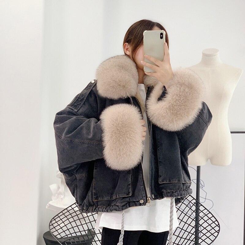 Women's Denim Jacket With Fur Natural Fox Fur Collar Cuff Real Rex Rabbit Fur Lining Winter Female Warm Jackets Bomber Windbreak