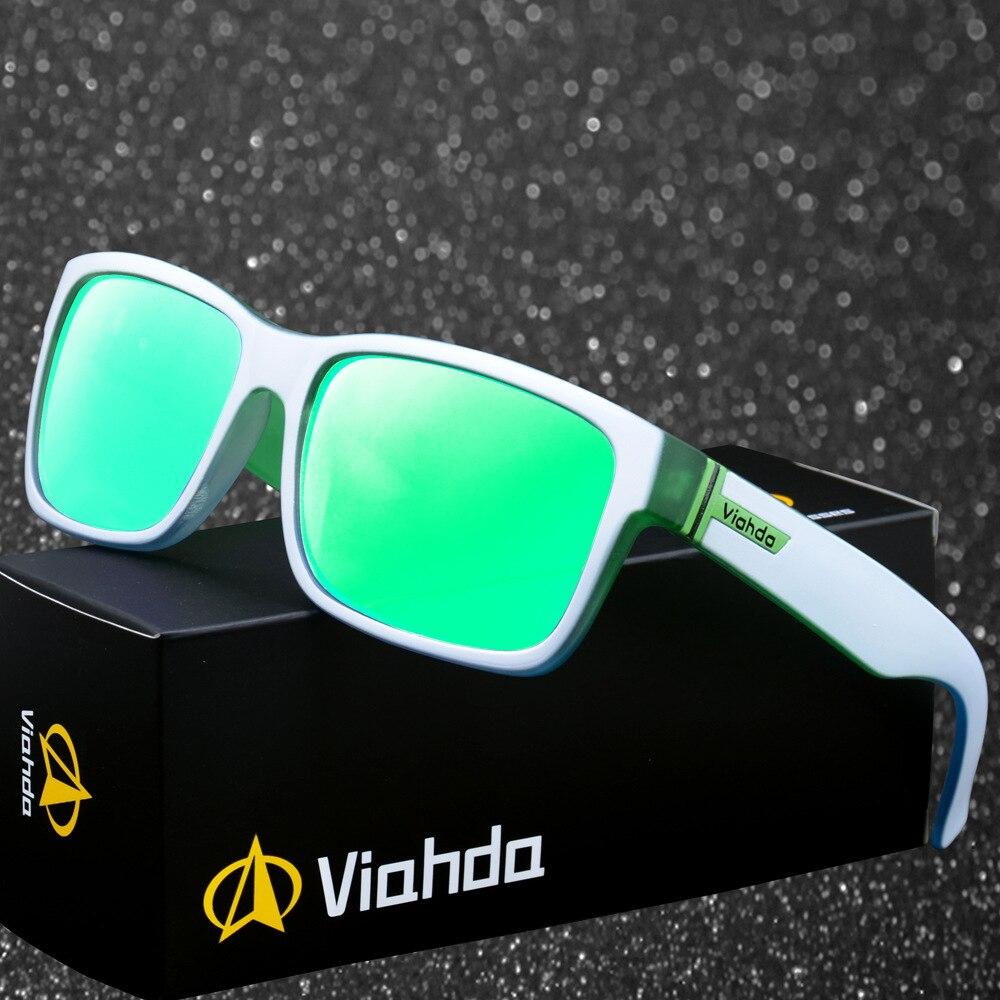 Viahda New Fashion Unisex Square Vintage Sunglasses Driving Mirrors Coating Points Black Frame Eyewear Male UV400 Sun Glasses