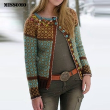 MISSOMO Winter jacket Women Print Buttons Long Sleeve Coat women Vintage