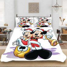 Christmas Mickey Love King-Full Size Soft Bedding set Bedclothes Include Duvet Cover Pillowcase Print Home Textile Bed Linens