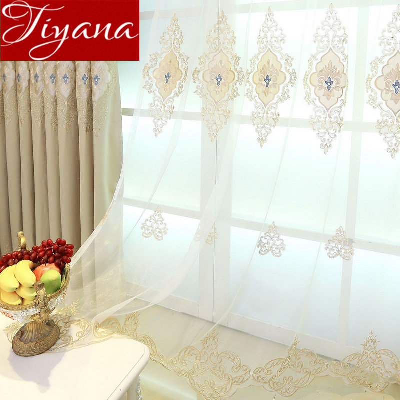 Luxury Embroidery Curtain For Living Room Beige Sheer Fabric Blue Tulle Curtain Window Bedroom Custom Made M122#40