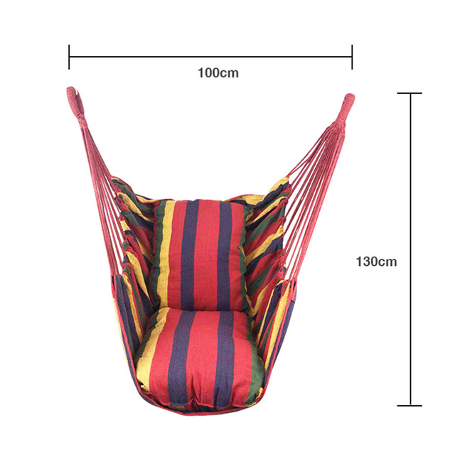 2 Pillow Hammock Hanging Rope Hammock Chair Swing Seat Large Hammock Chair Relax Hanging Swing Chair for Indoor Child Adult 5